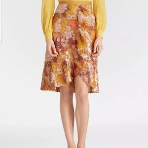 Tory Burch Opalina Silk Golden Yellow Floral Skirt